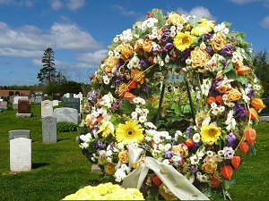 Funeral wreath at cemetary